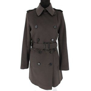 Burberry Dark Olive Wool Cashmere Belted Pea Coat